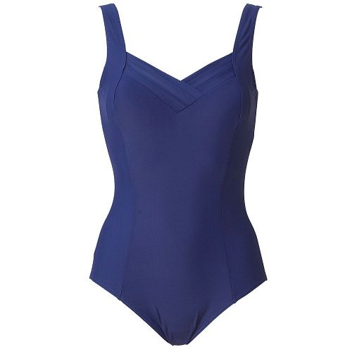 Beachcomber Swimsuit with Pleated Sweetheart Neckline - Navy